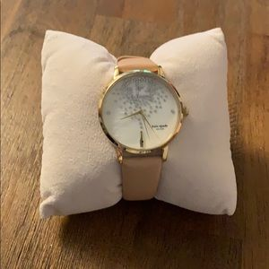 Kate Spade metro champagne leather strap watch